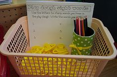 Play doh + cookie cutters = create a word center.  These tactile crafts are great for all learning styles.
