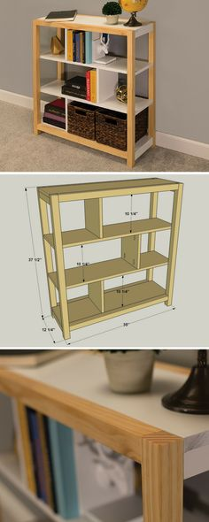 How to build a DIY Modern Bookcase | Free printable project plans at buildsomething.com | This bookcase offers ample storage and display space in a compact footprint. Plus, it's super easy to build using 2x2 and 1x10 boards, plus pocket-hole screws. The vertical dividers add an interesting look, create built-in bookends, and make the whole structure stronger without adding complexity.