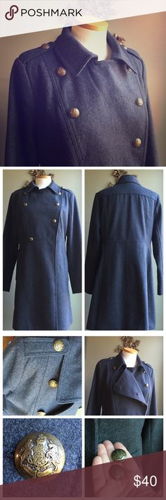 Military Style Wool Peacoat. Very stylish wool military style charcoal Grey long peacoat. Worn once. One button fell of but just needs to be sown back on, 2 extras. Old Navy Jackets & Coats Pea Coats