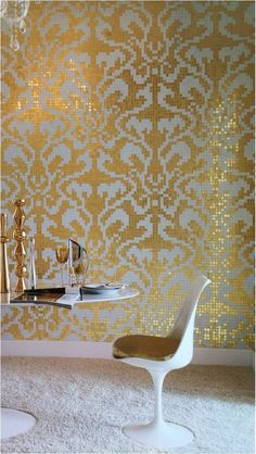 This is fun! -Bisazza gold tile Design by Carlo Dal Bianco Glass Mosaic Tiles, Wall Tiles, Gold Wallpaper, Mosaic Wallpaper, Pretty Room, Interior Decorating, Interior Design, Gold Walls, Wall Treatments