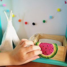 Watermelon Dollhouse Crochet Blanket by DyeNumber2 on Etsy