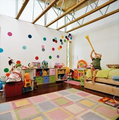 adorable spotted children's room...maybe what the attic will look like finished someday!