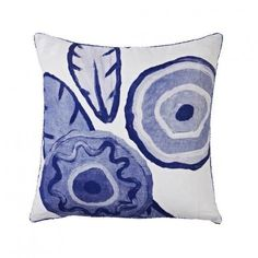 Bonnie and Neil Ceramic Blue Cushion 50cm | Bonnie and Neil – Salt Living or online at www.saltliving.com.au #saltliving #bonnieandneil #screenprinting #linen #cushion