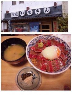 熊本県阿蘇市内牧 あか牛丼  土日は2時間の行列できるぐらいとても人気!