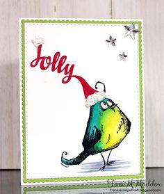 Frankie Helps Craft, Toni M Maddox, handmade CAS holiday Christmas card, Copic, Tim Holtz, Avery Elle