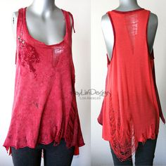 Reconstructed tank - up-cycled t shirt -shredded tunic KT515. $59.00, via Etsy.