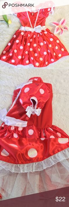 Disney SIZE SMALL 5/6 Minnie Mouse princess dress! Disney's Minnie Mouse princess style dress.  SIZE SMALL 5/6. ( Listed under both sizes. Only one dress available.)   Red with white polka dots. Cute puffy sleeve with elastic. Tulle skirt petticoat underlay for fullness. Sequins & shimmer party dress. Great fun, kids will love it!   I ❤️ bundles & offers! 🚫 NO TRADES. Disney Dresses Formal