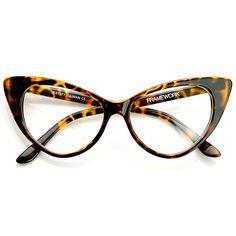 0998098cca 1950 s Vintage Mod Fashion Cat Eye Clear Lens Glasses 8435