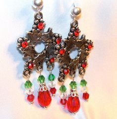 Christmas Antique Silver Wreath Earrings with Red by MyJannyMarie, $18.00