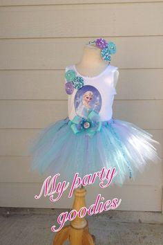 Frozen outfit tutu Elsa birthday tutu handmade by Mypartygoodies, $53.95