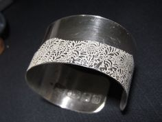 Volutes Photo etched sterling silver Cuff Bracelet with Wave floral pattern Bespoke Jewellery, Designer Jewellery, Handmade Jewellery, Cuff Bracelets, Bangles, Sterling Silver Cuff Bracelet, Wedding Earrings, Gifts For Her, Jewelry Design