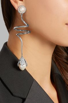 Balenciaga | Eugenia silver-tone, crystal and faux pearl clip earrings | NET-A-PORTER.COM