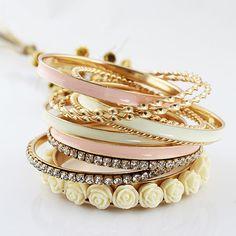 (11pcs /set ) Top Selling Fashion Chunky Jewelry Multilayer Rhinestone and Enamel Resin Flower Bracelets and Bangeles