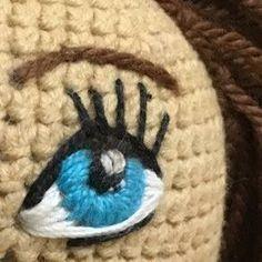 Olho bordado no crochê