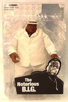 Mezco Toyz Rap Stars Action Figure Notorious BIG (Biggie Smalls) in White Suit by Distributoys. $19.99. Brand new and sealed.. The Notorious B.I.G. in cloth beige suit with removable hat, cane, microphone, cigar and sunglasses.. Name: If You Don't Know, Now You Know Notorious BIGManufacturer: Mezco ToysSeries: Rap StarsRelease Date: August 2006Details (Description): Mezco Toyz is proud to announce a 2006 release of a 9? scale roto figure of B.I.G., Biggie, Biggie Smalls, Big Chr...