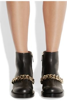 Givenchy | Ankle boots with gold metal chain in black leather | NET-A-PORTER.COM