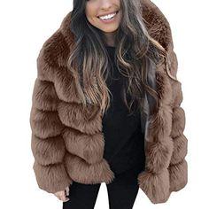 i uend 2019 Damen Mantel Pelzmantel Fellmantel Faux Fur Kunstpelz Mantel Kunstfell Jacke mit Kapuzen Damen Wintermantel Winterjacke Elegant