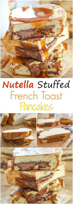 Nutella Stuffed French Toast Pancakes. All-in-one brunch combination so you don't have to choose!