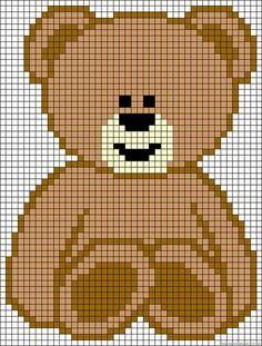 Teddybär Bügelperlen Vorlage Bär - Teddy perler bead pattern