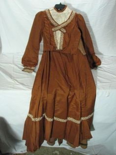 Antique-Edwardian-Jacket-Skirt-Dress-Brown-w-Lace-Victorian-Late-1800s-1900s