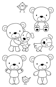 Felt Banner, Cute Easy Drawings, Cute Doodles, Tampons, Digi Stamps, Drawing For Kids, Colouring Pages, Clear Stamps, Doodle Art