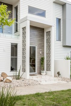 Breeze blocks fresh breeze block house front facade hg designs pty ltd Terrazzo, Block House, Swiming Pool, Swimming, Cladding Systems, Block Painting, Deck, Construction, Exterior House Colors