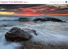 Waves crashing on the beach at Sakonnet Point in Little Compton, Rhode Island.   HOLIDAY SALE Seascape Photography Beach Wall Art by klgphoto, $21.25