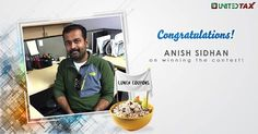 Congratulations Anish Sidhan on winning the lunch coupons. Have a great meal. #UnitedTax #Contest #Winner