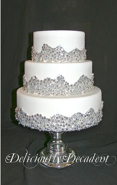 Love the silver dragees on this cake. Sparkly Wedding Cakes, Sparkly Cake, Elegant Wedding Cakes, Beautiful Wedding Cakes, Gorgeous Cakes, Amazing Cakes, Dream Wedding, Pool Cake, Silver Cake