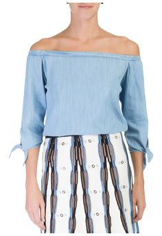 CORI - Blusa jeans ombro a ombro amarração - OQVestir