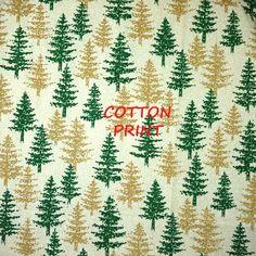 Cream Green Gold Fir Trees, Christmas Print Fabric, Quilting Cotton, Snow…