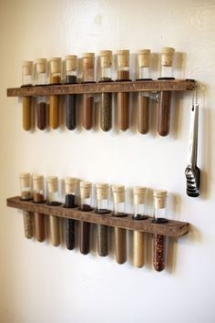 test tube spice rack...hmm...maybe, but I'm not sure it would be big enough :/