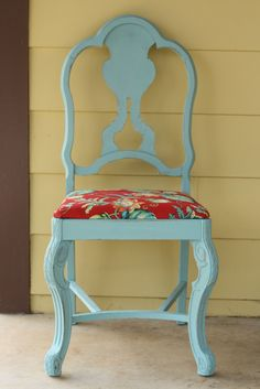 Primitive & Proper: Just a Little Chair provence chalk paint, red floral fabric