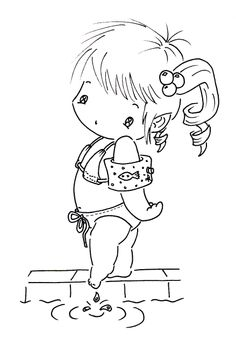Sliekje digi Stamps: Swimming boy and girl