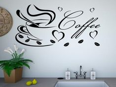 Coffee cup with word kitchen wall stickers Kitchen Words, Kitchen Wall Stickers, Vinyl Wall Art, Coffee Cups, Colours, Home Decor, Coffee Mugs, Interior Design, Home Interior Design