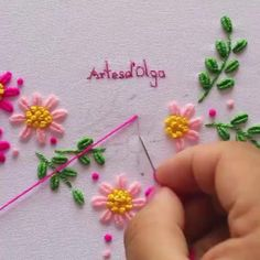 Hand Embroidery Patterns Flowers, Etsy Embroidery, Basic Embroidery Stitches, Hand Embroidery Videos, Embroidery Stitches Tutorial, Embroidery Flowers Pattern, Simple Embroidery, Learn Embroidery, Hand Embroidery Designs