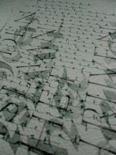 fragment uit een werk op papier - romeinse kapitalen in potlood, unciaal met bamboepen en ingekleurde sumi-inkt, uitgerokken schrift met spitse pen