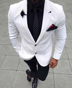Mens White Suit, Black And White Suit, Black Tuxedo, Mens Slim Fit Suits, Mens Tux, Slim Fit Tuxedo, Blazer En Tweed, Men Blazer, Dress Suits For Men