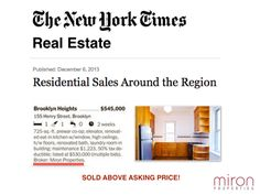 We are so excited to be featured in The New York Times Residential Sales Section for 155 Henry Street! #nycre #justsold #mironproperties