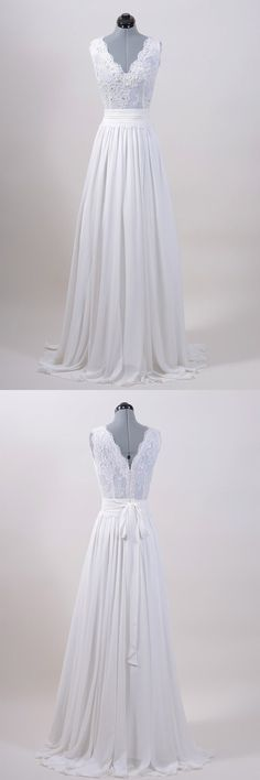 wedding dresses,simple wedding dresses,v-neck wedding dresses,sleeveless wedding…