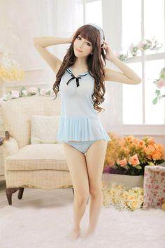13a0b938cb2 Amazon.com  Cool2day Girls Sweet Chiffon Short Sailor Dress Exotic Costumes  Lingerie Co010062 (Womens XS-M Girls 10-16)  Clothing