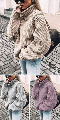 Mein Style, Diy And Crafts, Turtle Neck, Elegant, Knitting, Stylish, Sweaters, Outfits, Tops