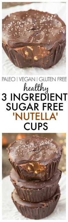 Healthy 3 Ingredient 'Nutella' Cups made with NO sugar, NO dairy and ridiculously easy AND delicious!