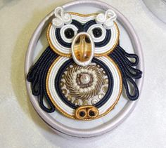 Wise and Lucky Soutache Owl Washer Necklace, Owl, Owls