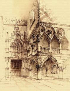 Doge Palace in Venice Sketch with watercolor. 60x40 cm  <- SUPPORT APPRECIATED www.facebook.com/pages/Grim-Dr…
