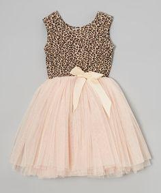 Look at this #zulilyfind! Pink & Tan Miss Pussycat Tutu Dress - Infant, Toddler & Girls by Designer Kidz #zulilyfinds