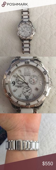 Citizen Women's Eco-Drive 32 Diamond Watch Citizen eco-drive women's 32 diamond stainless steel and ceramic chronograph watch. Almost new condition. 40mm case width. Water resistant to 100 meters. Solar powered. Runs a bit small. Citizen Jewelry Bracelets