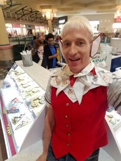 Christopher elf fashion modeling around the food court at Arbor Place Mall Great American Cookies Douglasville Georgia