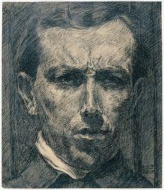 Self-Portrait Umberto Boccioni 1910 Ink, Wash and graphite on paper