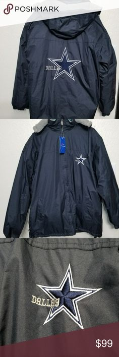 🆕️ Dallas Cowboys Coat Dallas Cowboys Jacub Sportswear.  Fleece lined with removable hood. Water repellent and wind resistant. Adjustable arm bands. Adjustable waistband. Interior pocket. Size large. Brand new with tags. Jacub Jackets & Coats Performance Jackets